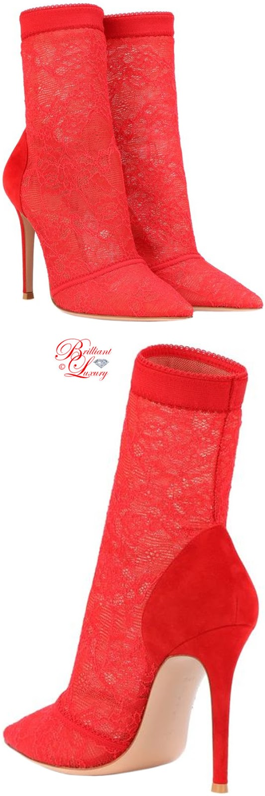 Brilliant Luxury ♦ PANTONE Fashion Color SS 2019 ~ Fiesta ♦ Gianvito Rossi Brinn lace ankle boots #red