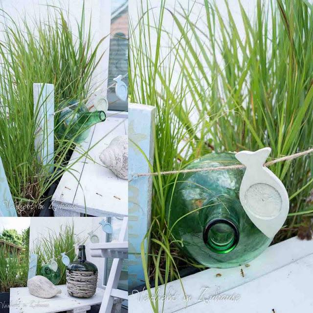 Collage mit Ideen und Inspiration: Maritime Dekoration vor der Haustür