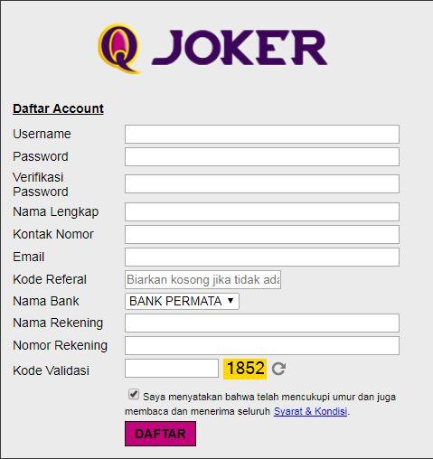 Format kolom pengisian data untuk pendaftaran Qjokers