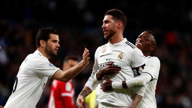Hasil Copa del Rey: Ramos Dua Gol, Madrid Bungkam Girona 4-2
