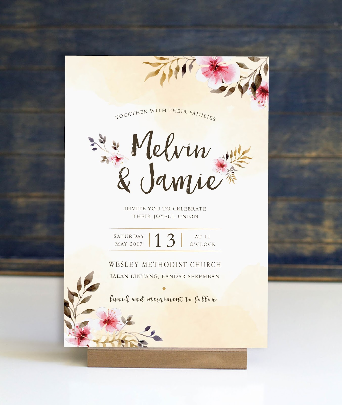 Wedding Card Malaysia | Crafty Farms Handmade : Watercolour Printed ...
