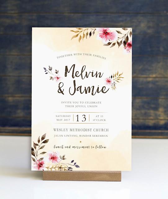 Faux Watercolour Church Wedding Invitation Card Kuala Lumpur - Seremban