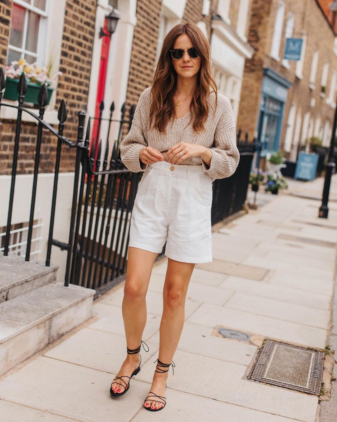 How to Transition Your Shorts Into Fall — Neutral Sweater, White Shorts, Lace-Up Sandals