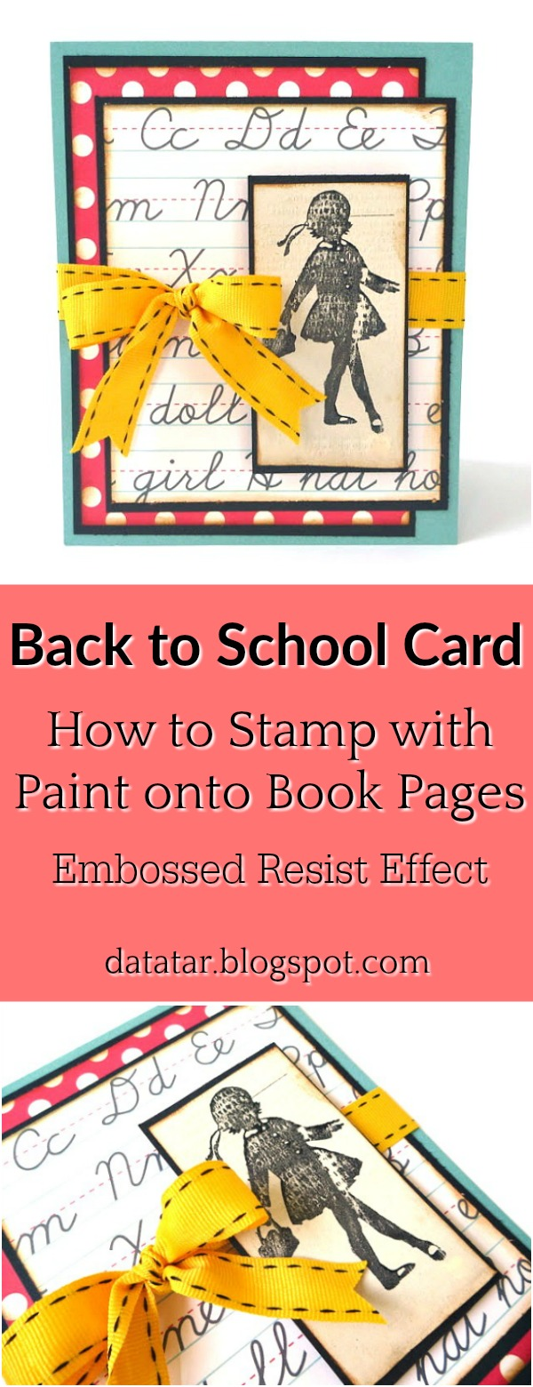 Red and Yellow Back to School Card with Stamping