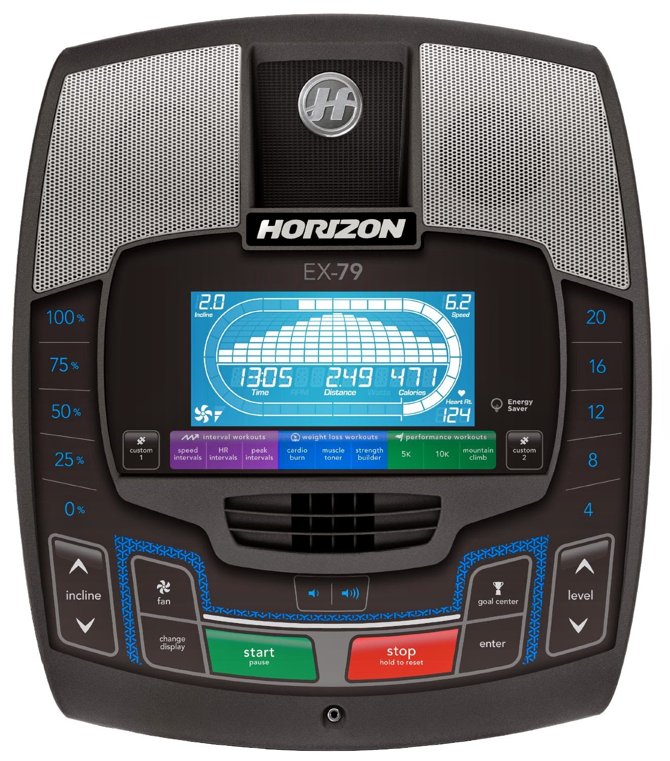 Horizon Fitness EX 79 2 Console, compared with EX 69 2 Elliptical Trainer