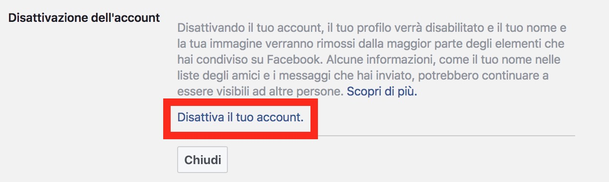 Come cancellare account Facebook - click per disattivazione account