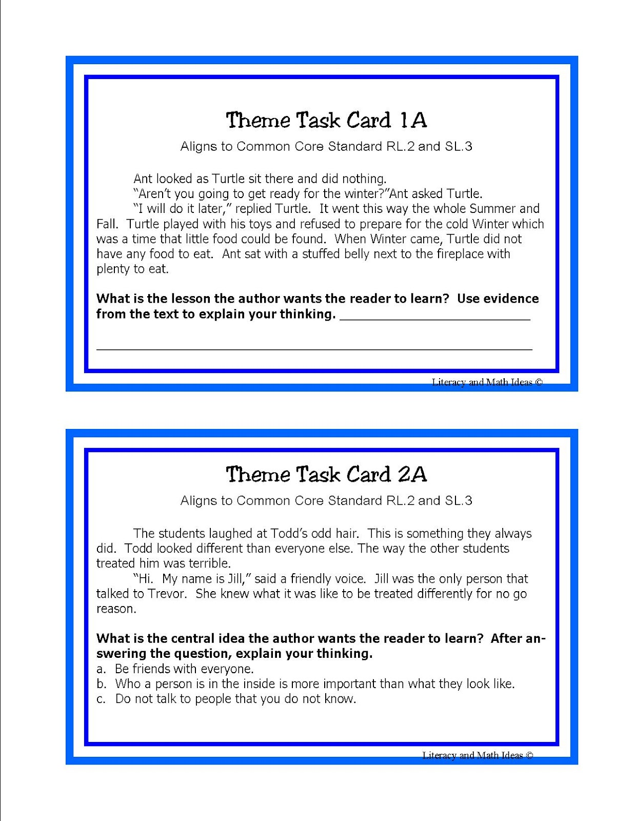 Literacy Amp Math Ideas Task Cards To Teach Students The
