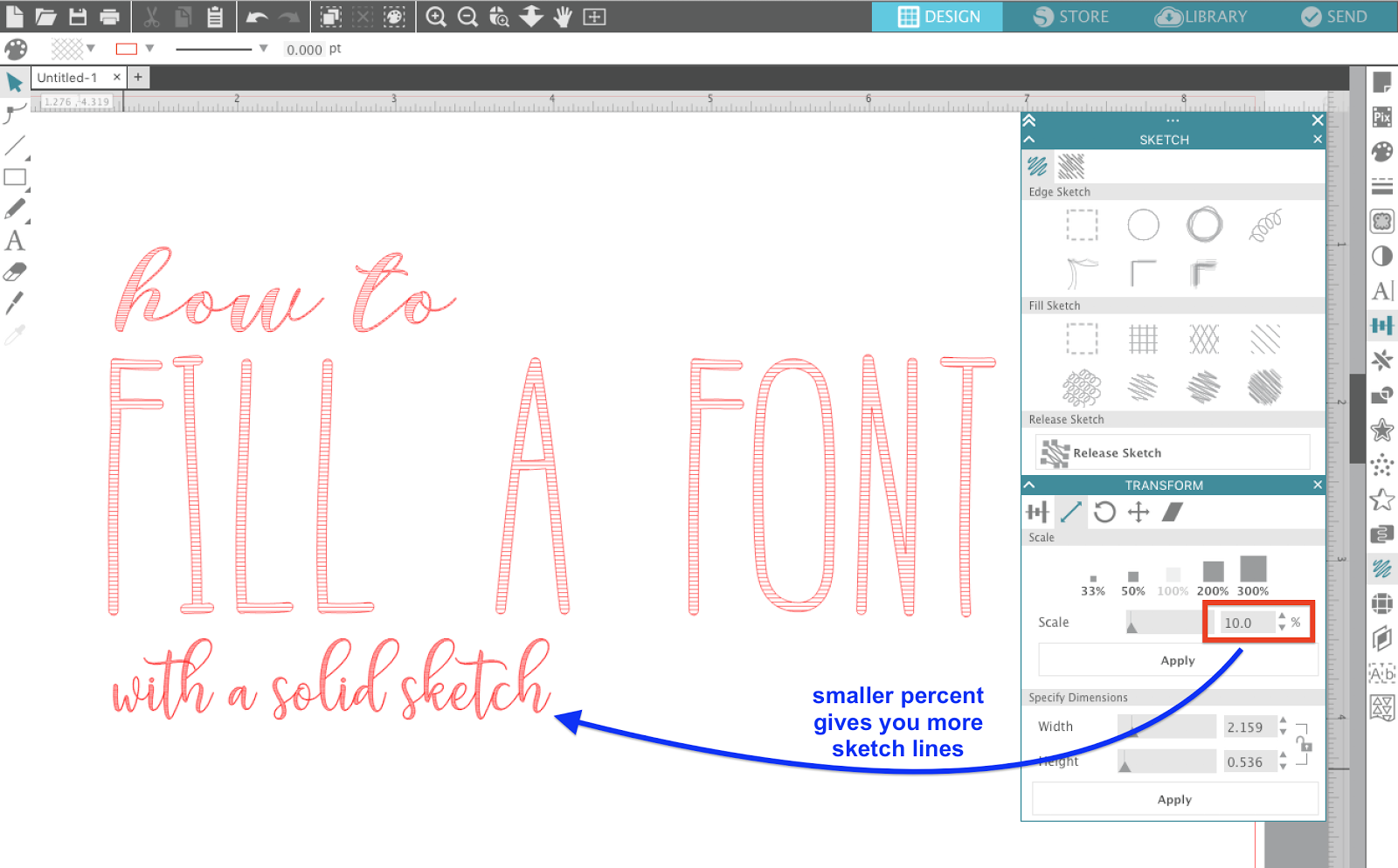 Silhouette sketch pen solid fill hack silhouette school your design will now have more sketch lines across it so when you sketch with your silhouette cameo sketch pens the text will appear to have a solid sketch fandeluxe Image collections