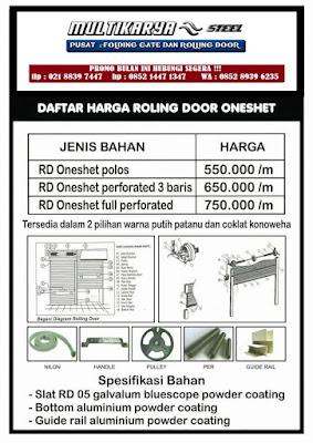 gambar daftar harga rolling door onesheet bandung murah