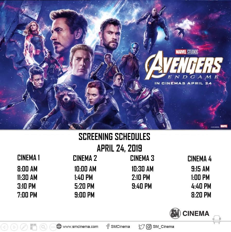 Avengers: Endgame screening schedules at SM Cinema General Santos