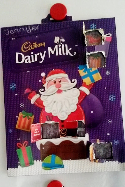 Cadbury Dairy Milk Chocolate Advent Calendar opened