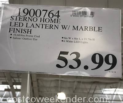 Deal for the Sterno Home LED Lantern with Marble Finish at Costco