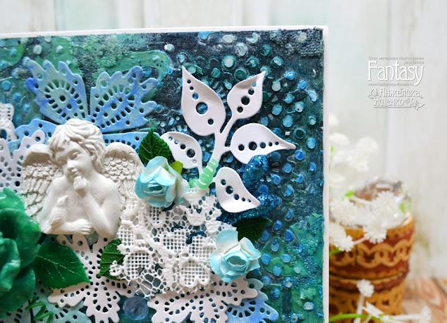 открытка, бирюза, открытка своими руками,роза,открытка с ангелом, открытка фентази