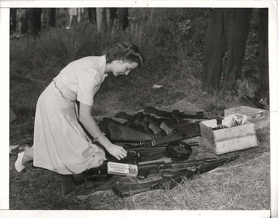 Woman with machine gun, Bridgeport, Connecticut, 8 August 1941 worldwartwo.filminspector.com