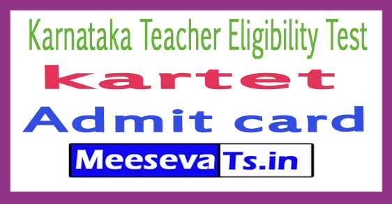 Karnataka TET Admit Card 2017 Download KARTET Hall Ticket