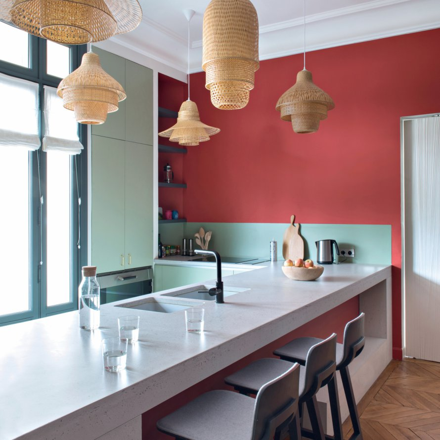 colorful kitchen, design lamps, red wall pait,