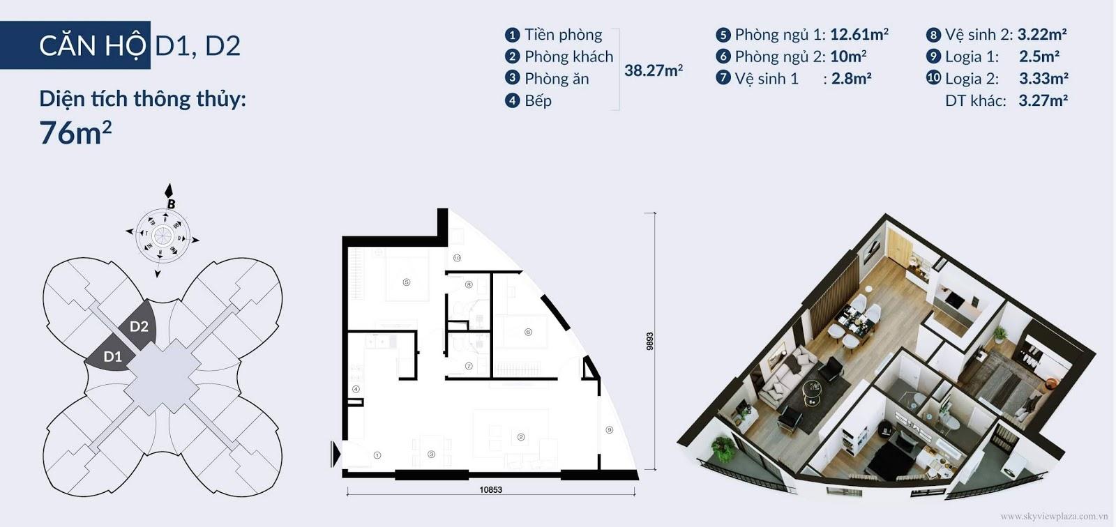 Chi tiết căn hộ D1, D2 dự án Sky View Plaza
