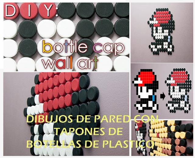 dibujos, tapones, plástico, botellas, diys, decoración, infantil