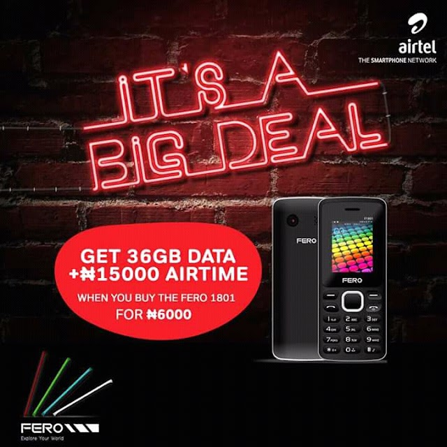 Airtel Christmas Offer - Buy Fero 1801 For N6000 And Get 36GB Data + N15,000 Airtime For 6months