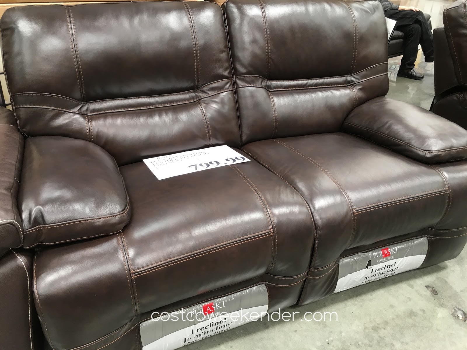 Pulaski Furniture Leather Reclining Loveseat | Costco ...