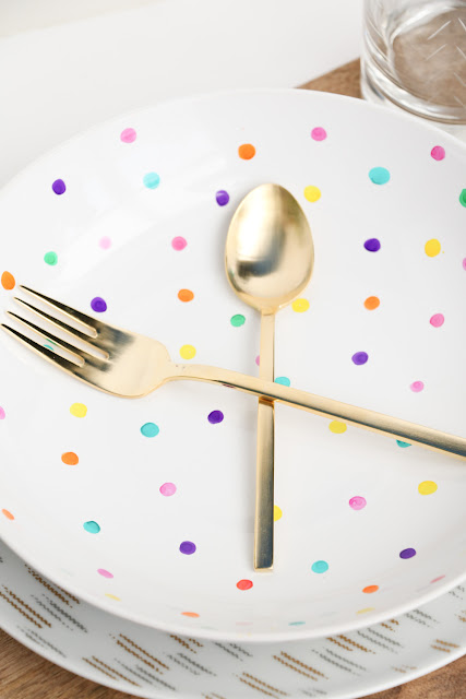 DIY Polka Dot Plates using Ceramic Paint Pens