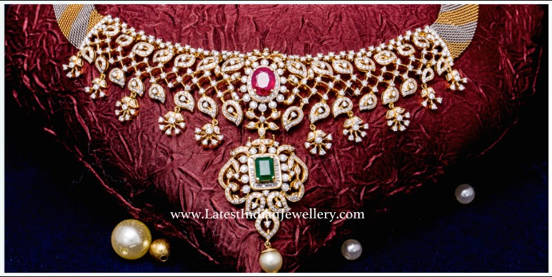 Radiant Diamond Necklace in Paisley Design