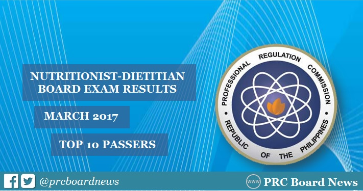 Top 10 Passers List: March 2017 Nutritionist Dietitian board exam results