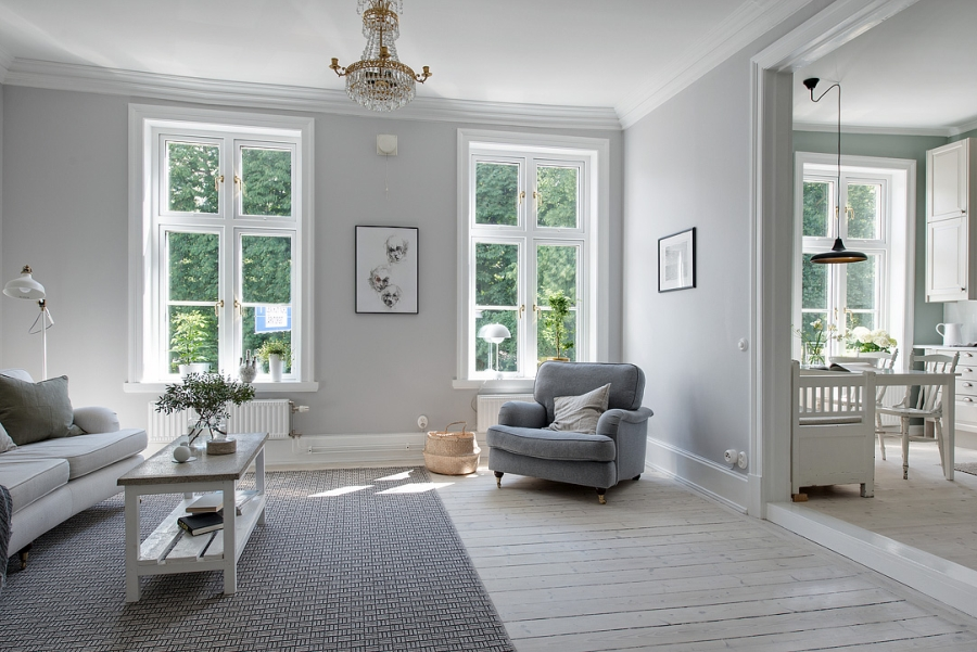 Skandynawsko - francuski apartament, wystrój wnętrz, wnętrza, urządzanie mieszkania, dom, home decor, dekoracje, aranżacje, styl francuski, styl skandynawski, scandi, French style, Scandinavian style, jasne wnętrza, bright interiors, pokój dzienny, salon, living room