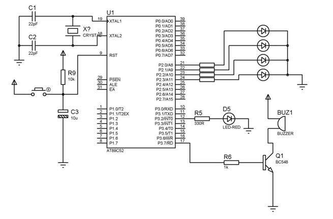 microcontroller projects and tutorials  interfacing of a buzzer using microcontroller 89c52  89s52