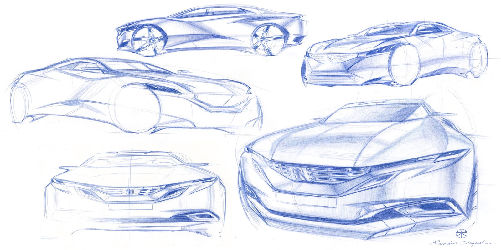 Peugeot Exalt concept pencil sketches by Romain Saquet