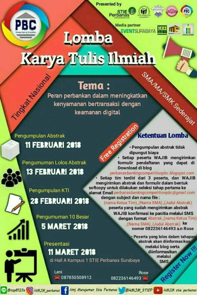 Lomba Karya Tulis Ilmiah Nasional Pelajar SMA - Sederajat 2018 di STIE Perbanas Surabaya