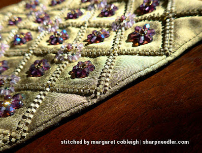 Detail of edge on beaded silk purse. (Rare Vintage by Liz Vickery, Inspirations, bead embroidered purse)