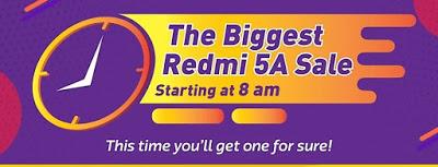 Flipkart Big shopping Days: The Biggest Redmi 5A sale will Live at 8AM