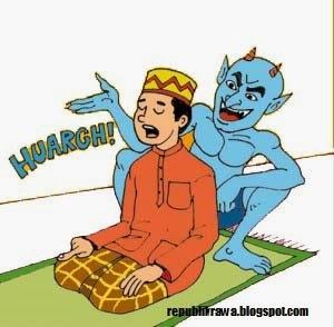 Setan Lagi Menggoda Manusia yang Sholat (Gambar Kartun)