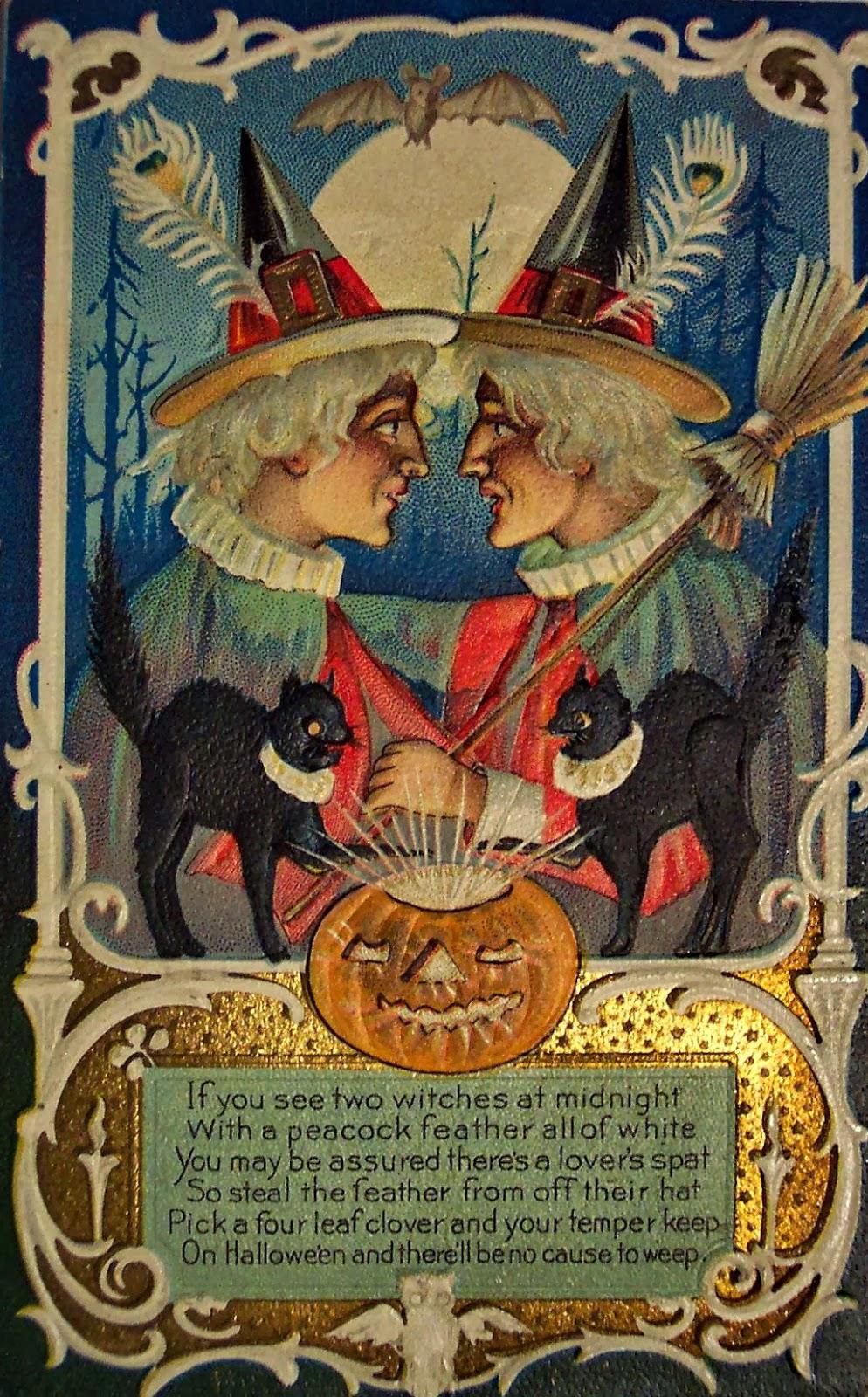 Vintage Halloween Witch Postcards, c. 1900's ~ vintage ...