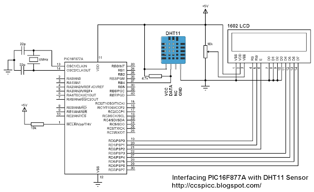 PIC16F877A with DHT11 humidity and temperature circuit