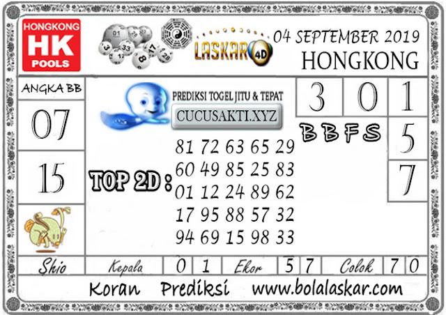 Prediksi Togel HONGKONG LASKAR4D 05 SEPTEMBER 2019