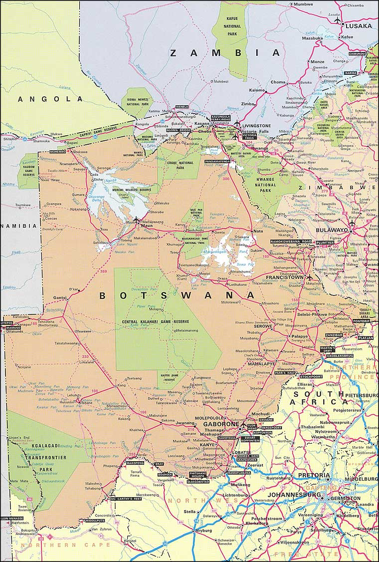 Botsuana | Mapas Geográficos de Botsuana