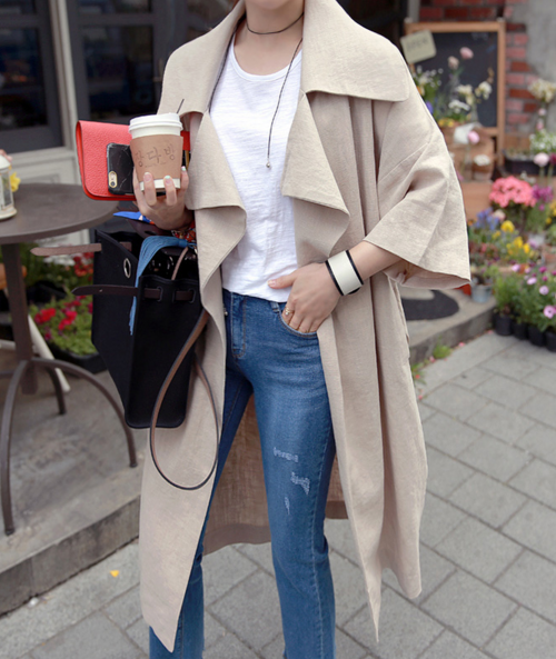 Wide Lapel Open Front Trench Coat
