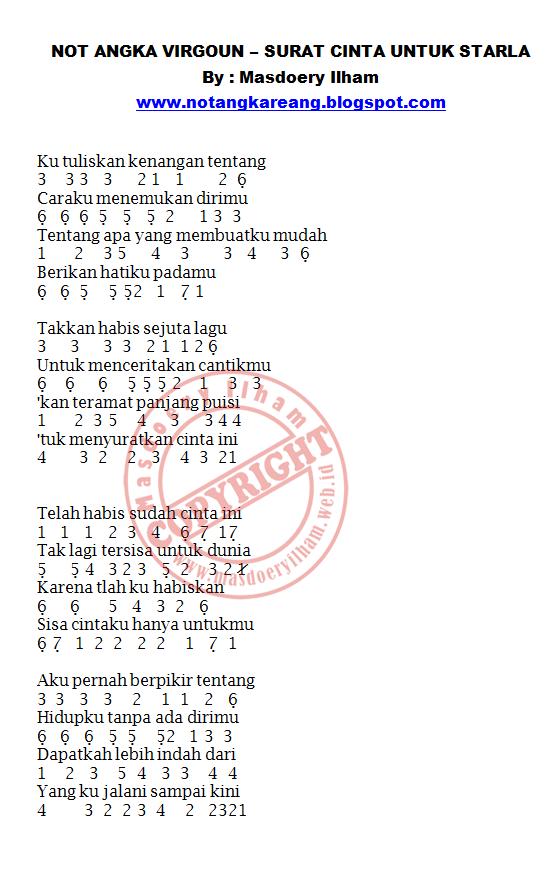 Lirik Not Piano Surat Cinta Untuk Starla