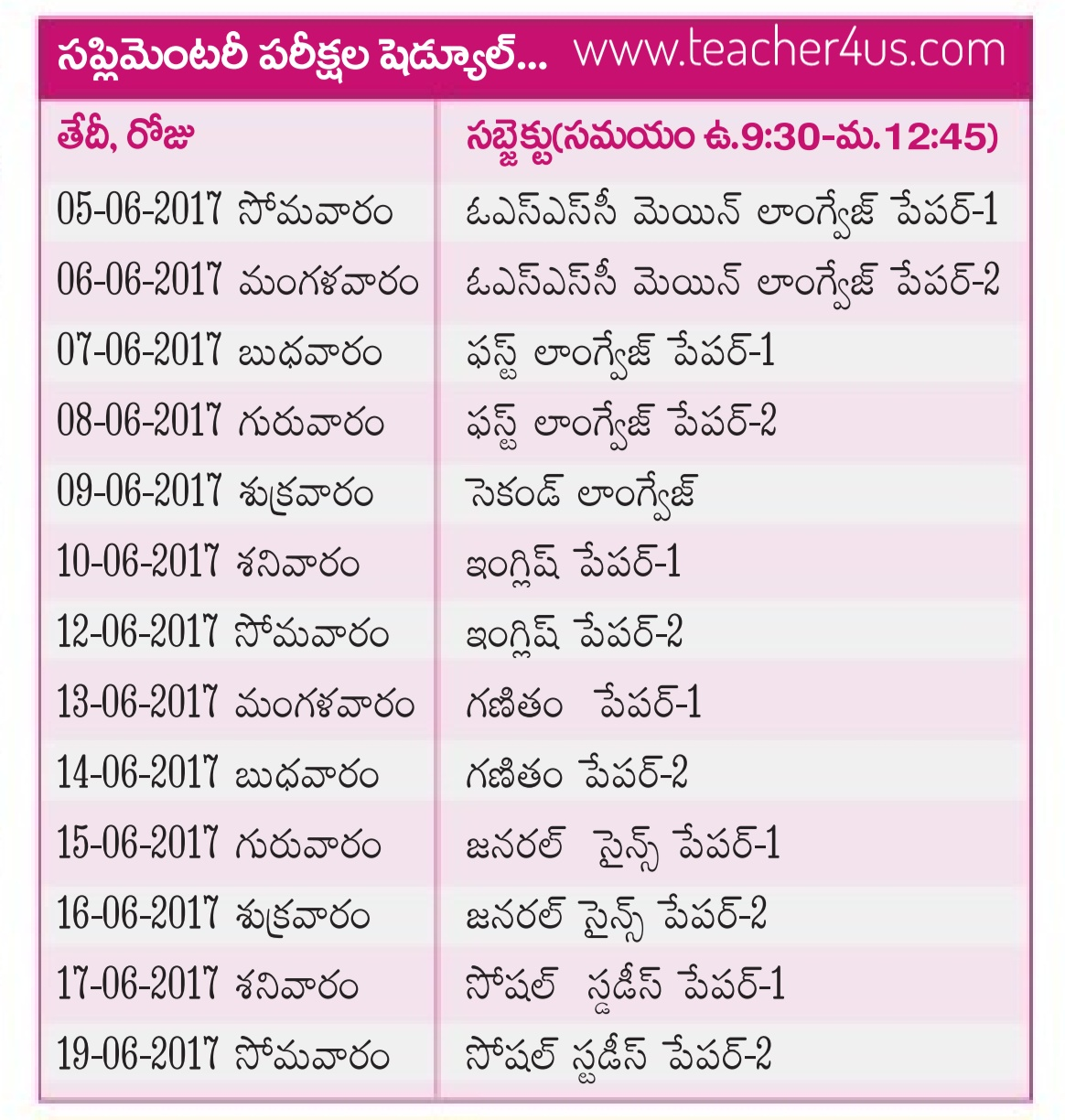 Telangana 10th class supplementary examination due dates Time table 2017