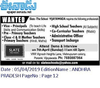 Slate The School Vijaywada Teaching, Non Teaching Staff Jobs