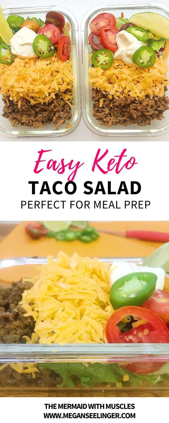 These low carb taco salads are an easy Keto ground beef recipe. A homemade Keto taco seasoning with your favorite taco salad toppings make this a perfect low carb meal prep and Keto lunch idea for