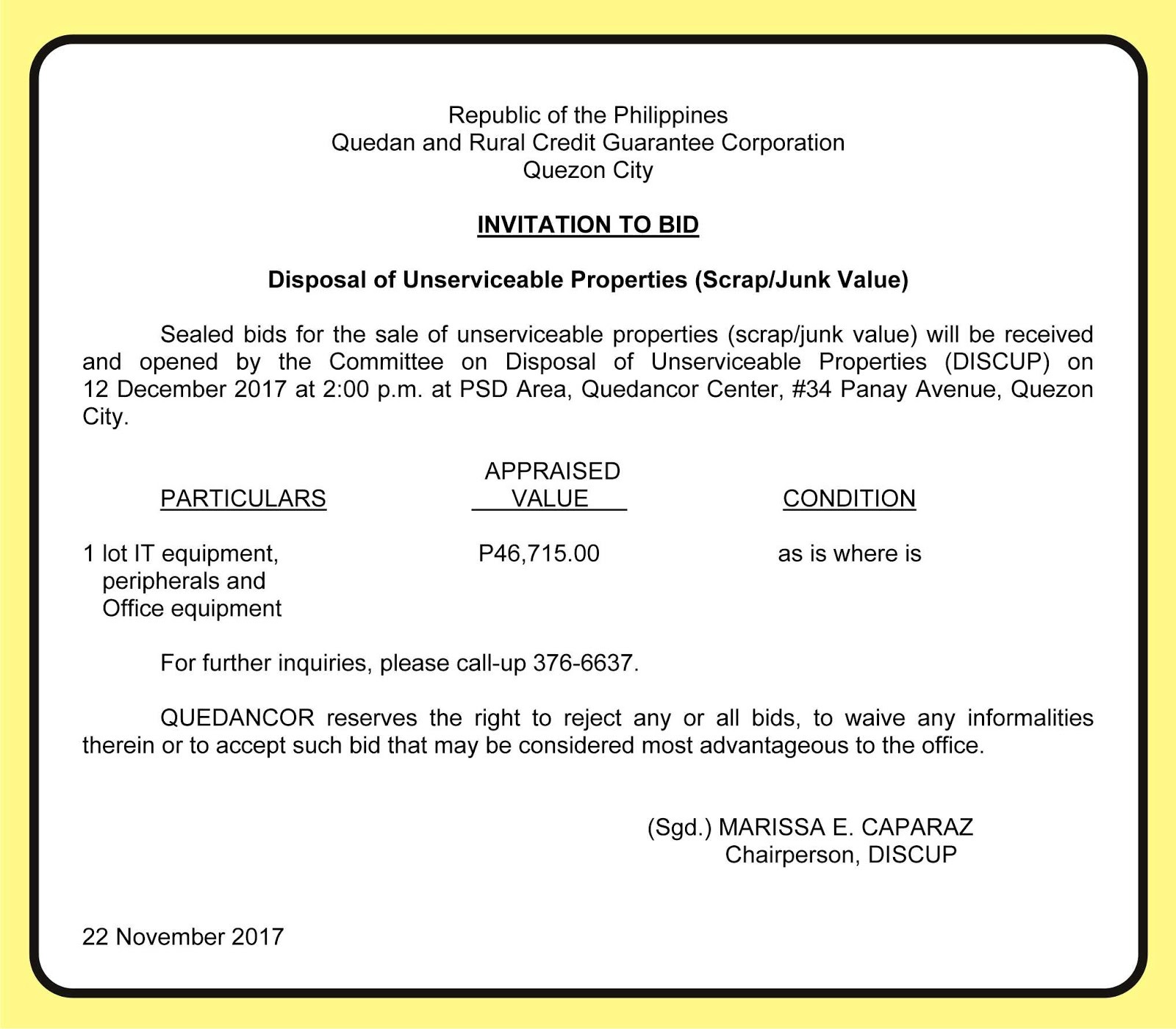 Quedancor Invitation To Bid Disposal Of Unserviceable Properties