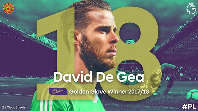 David de Gea meraih Penghargaan Golden Glove alias kiper terbaik musim ini