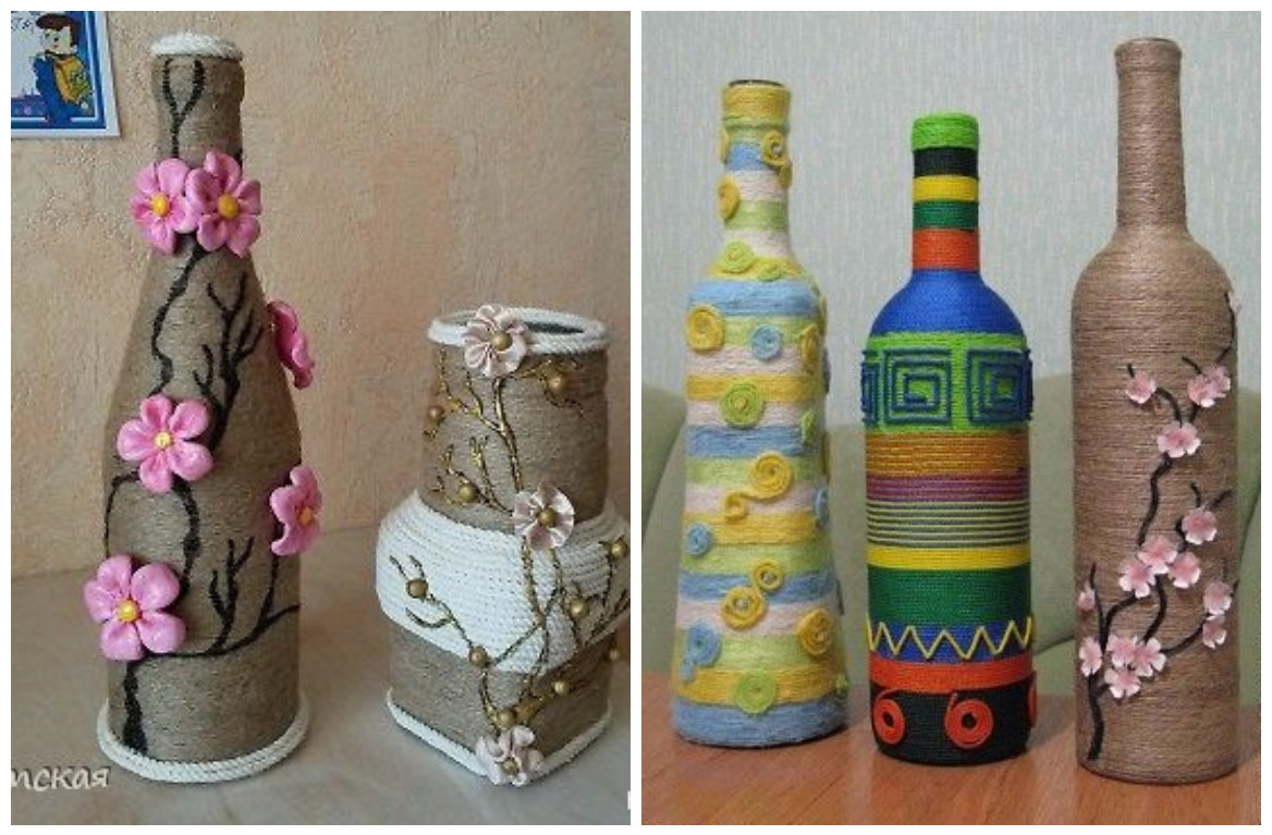 13 Ideas Hermosas Para Decorar Botellas Con Cordon De Henequen - Decorar-botellas