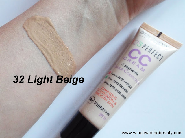 Bourjois 123 Perfect CC Cream 32 light beige swatches
