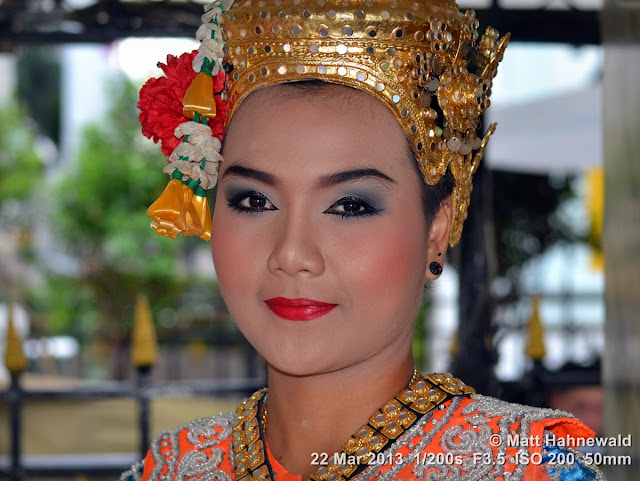 Facing the World, © Matt Hahnewald, closeup, portrait, headshot, Thailand, Bangkok, Erawan shrine, Thao Maha Phrom Shrine, Thai temple dancer, temple dance, ram Thai, traditional costume, sequin-encrusted headdress