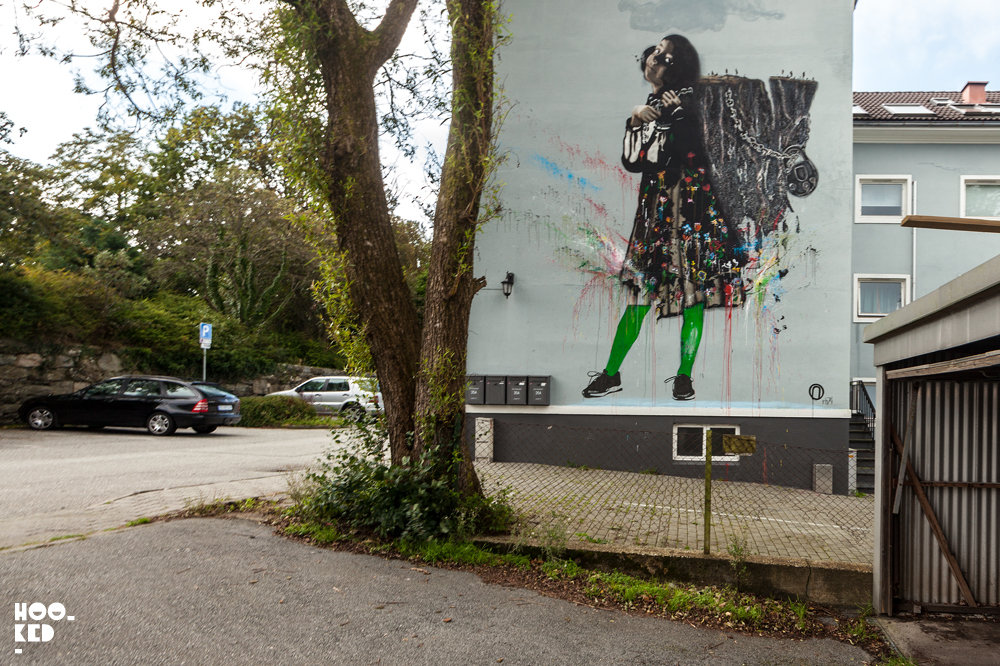 """""""Sofia and the mountain"""", mural by Street artist Nimi in Stavanger, Norway"""