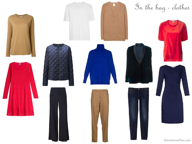 navy, camel, red and white capsule wardrobe for cold weather city travel